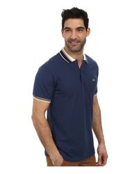 Lacoste - Blue Slim Fit Pique Polo With Neo-piping for Men - Lyst