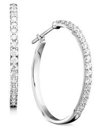 Macy's - 14K White Gold Earrings, Diamond Hoops (1-1/2 Ct. T.W.) - Lyst