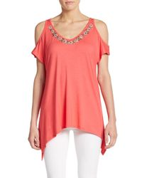 Saks Fifth Avenue Black Label | Pink Embellished Cold-shoulder Top | Lyst