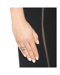 Bottega Veneta | Metallic Intrecciato Silver And Cubic Zirconia Ring | Lyst