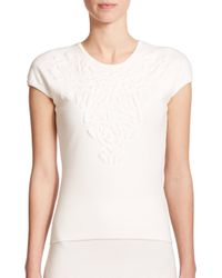 ESCADA | White Embossed Flower Knit Top | Lyst