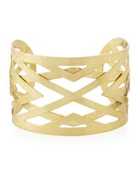 Panacea | Metallic Scratched Golden Cuff Bracelet | Lyst