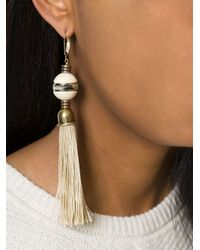 Lanvin | Natural Hook Clip Tassel Earrings | Lyst