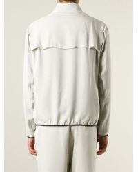 Giorgio Armani - Natural Contrast Trim Zip Front Jacket for Men - Lyst
