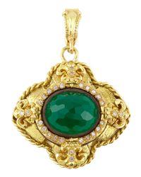 Armenta | Green Onyx Fleur De Lis Enhancer W/ Diamonds | Lyst