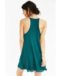 Silence + Noise - Green Ribbed Swing Dress - Lyst