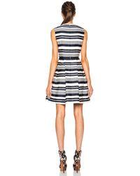 RED Valentino - Blue Striped Viscose-blend Jacquard Dress - Lyst