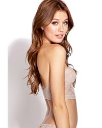 Forever 21   Natural Strapless Lace Corset Bra   Lyst