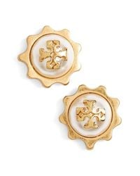 Tory Burch | Metallic Logo Faux Pearl Gear Stud Earrings | Lyst