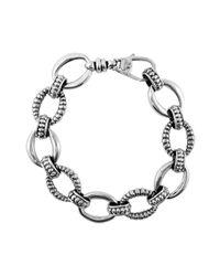 Lagos - Metallic Silver Small Caviar & Fluted Link Bracelet - Lyst