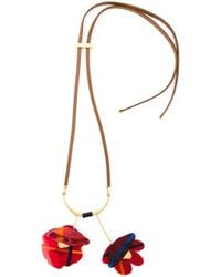 Marni | Red Flower Pendant Necklace | Lyst
