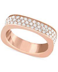 Swarovski | Pink Crystal Pavé Square Ring | Lyst