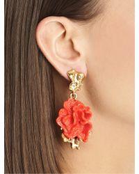 Oscar de la Renta - Red Coral-Motif Clip-On Earrings - Lyst