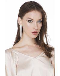 AKIRA | Metallic Crystal Clear Silver White Fringe Drop Earrings | Lyst