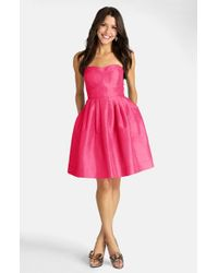 Donna Morgan - Pink Seamed Shantung Fit & Flare Dress - Lyst