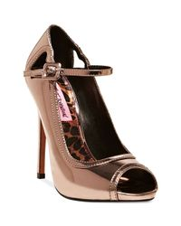 Betsey Johnson | Metallic Mimie Ankle Strap Pumps | Lyst