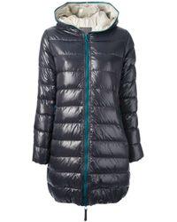 Duvetica - Blue Contrasting Zipper Long Padded Jacket - Lyst
