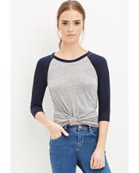 Forever 21 | Blue Burnout Knit Baseball Tee | Lyst
