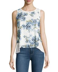 Casual Couture - Blue Lace-overlay Layered Tulip Tank - Lyst
