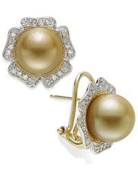 Macy's - Metallic 14K Gold Earrings, Golden South Sea Pearl (9Mm) And Diamond (1/3 Ct. T.W.) Flower Stud Earrings - Lyst