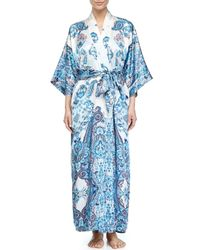 Christine - Blue Printed Long Robe - Lyst