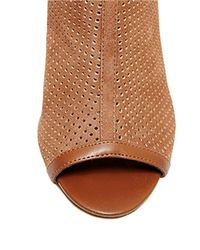 Steven by Steve Madden - Brown Foxxi Leather And Mesh Peeptoe Booties - Lyst
