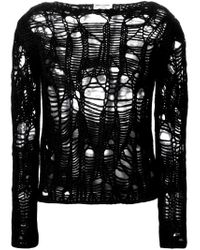 Saint Laurent - Black Distressed Knit Sweater - Lyst