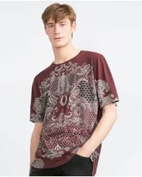 Zara | Purple Printed T-shirt for Men | Lyst