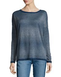 Vince | Blue Metallic-stripe Crewneck Sweater | Lyst