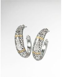 Effy | Metallic Balissima Sterling Silver, Diamond And 18k Yellow Gold Hoop Earrings | Lyst