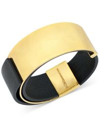 BCBGeneration | Black Faux Leather Plaque Slap Bracelet | Lyst
