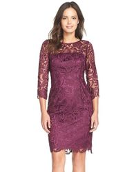 Adrianna Papell | Purple Illusion Yoke Guipure Lace Sheath Dress | Lyst
