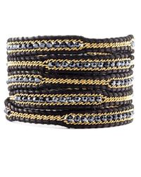 Chan Luu - Black Mix Crystal and Chain Wrap Bracelet On Natural Black Leather - Lyst