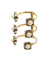 Alexander McQueen - Yellow Crystal & Pearly Golden Military Bracelet - Lyst