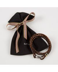 Paul Smith - Men's Light And Dark Brown Leather Wrap Bracelet for Men - Lyst