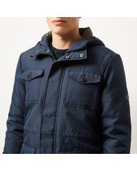 River Island - Blue Navy Schott Hooded Coat for Men - Lyst