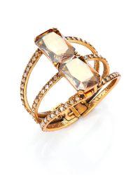 Oscar de la Renta | Metallic Octagon Crystal Statement Bracelet | Lyst