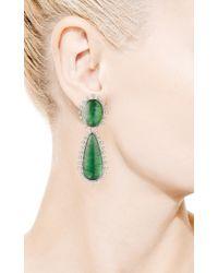 Faraone Mennella - 18k White Gold Green Tourmaline Earrings - Lyst