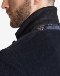 Ted Baker - Blue Deluxe Detachable Shearling Collar Coat for Men - Lyst
