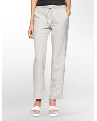 Calvin Klein - Gray White Label Lightweight Linen Pants - Lyst