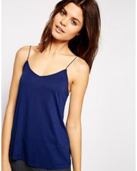 ASOS - Blue Cami Top With Barely There Straps - Lyst