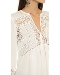 Rebecca Taylor - Natural Silk & Lace Top - Snow - Lyst