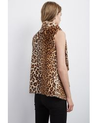 Velvet By Graham & Spencer - Brown Dariela Faux Fur Leopard Vest - Lyst