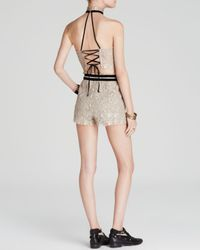 Free People | Metallic Set Me Up Lace Halter And Skort | Lyst