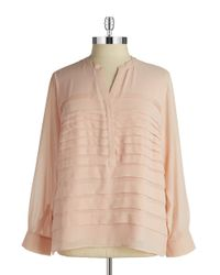 Calvin Klein | Pink Plus Pleated Chiffon Blouse | Lyst