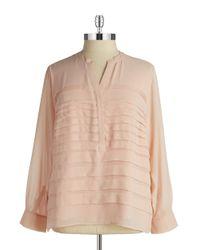 Calvin Klein - Pink Plus Pleated Chiffon Blouse - Lyst