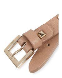 Valentino - Natural Rock Stud Beige Leather Bracelet - Lyst