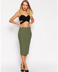 ASOS - Natural Midi Pencil Skirt In Bandage Rib - Lyst
