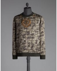 Dolce & Gabbana - Green Camouflage Crew Neck Sweatshirt With Bee And Crown Embroidery for Men - Lyst