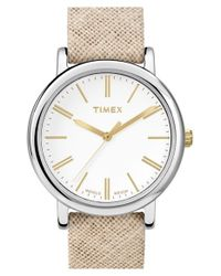 Timex - Metallic Timex 'classic' Fabric Strap Watch - Lyst